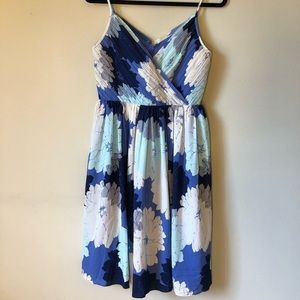 Banana Republic Ruched Blue Flower Dress